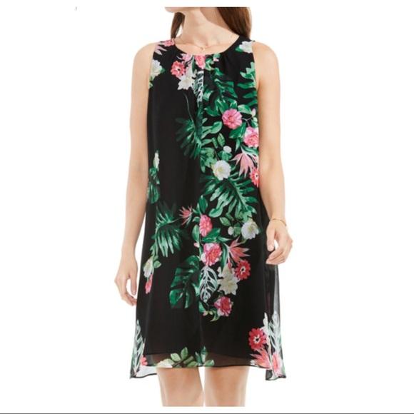 e814f2ce8577a3 Vince Camuto Floral Leaf Chiffon A-Line Dress